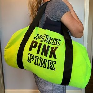 Neon Yellow Pink Victoria's Secret Duffle Bag